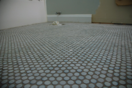 grouted penny round tile gray