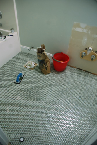 bathroom tiling gray penny round tile