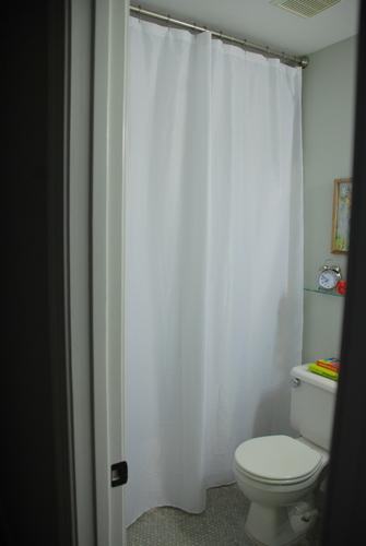 hemmed shower curtain