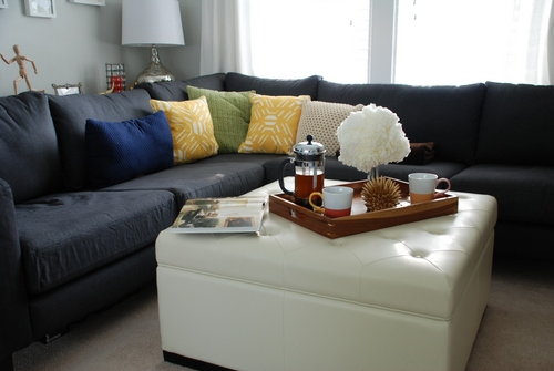 Noah Tufted Ottoman staging | livelygreendoor.com