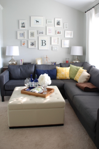 Noah Tufted Ottoman, frame collage and IKEA Karlstad sectional | livelygreendoor.com