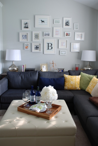 Frame collage, Noah Tufted Ottoman & IKEA Karlstad sectional | livelygreendoor.com