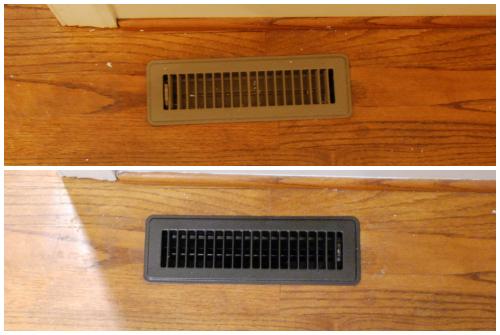 Tired of boring brown? Spray paint your floor registers oil-rubbed bronze | www.livelygreendoor.com