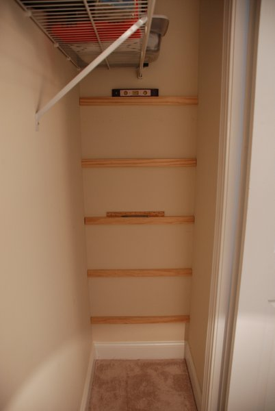here the length depends on the depth of the shelves iu0027m using two 8u2033 boards for 145u2033 deep shelves nominal vs actual wood dimensions cuts 15u2033 from - Closet Shelving