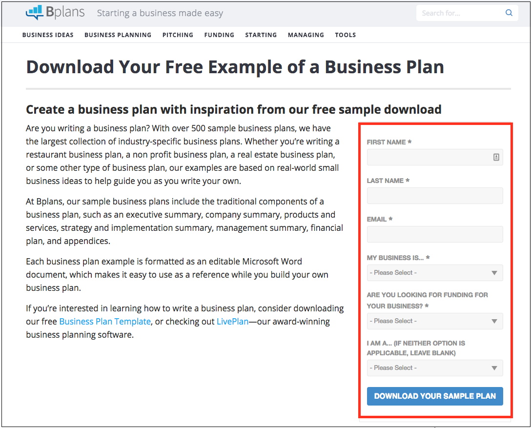 How do I download a sample business plan from the library? – Palo ...