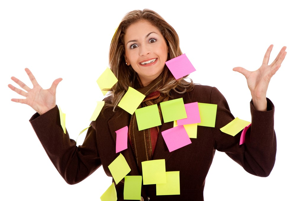 woman post its