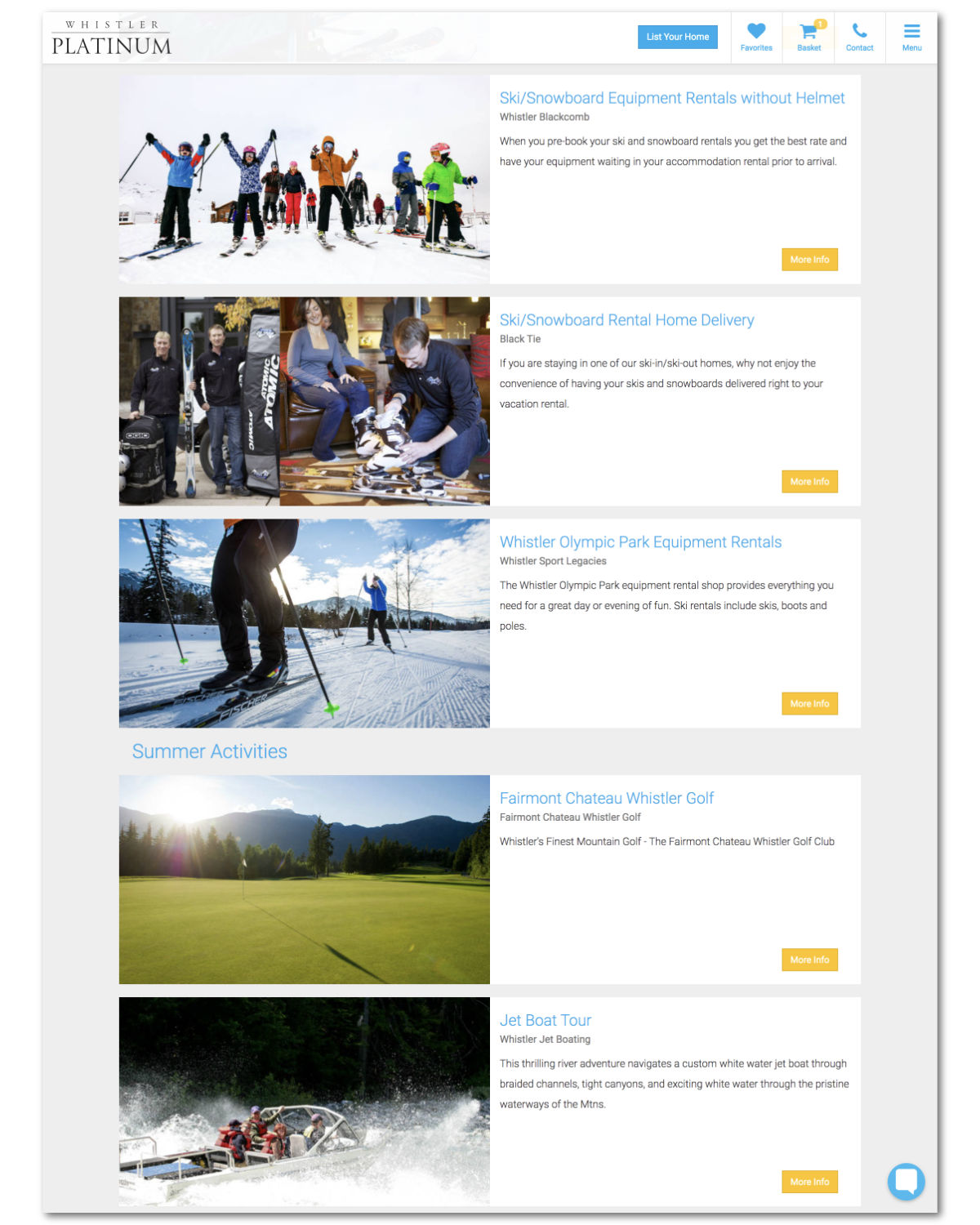 Whistler Platinum Activities, Products and Add-ons