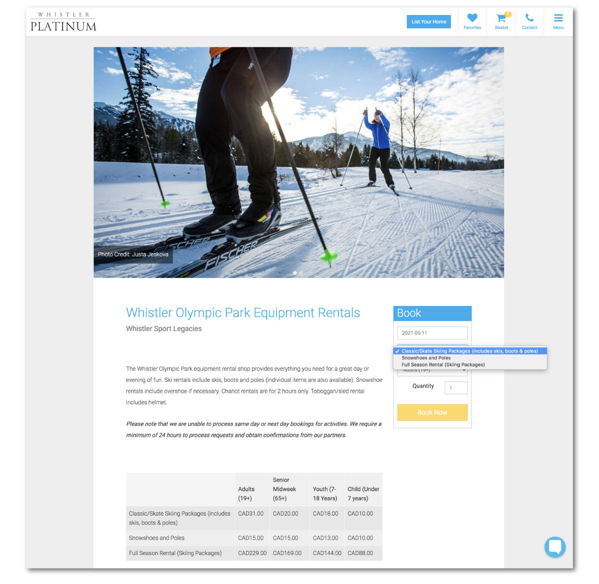 Whistler Platinum Activities, Products and Add-ons - Whistler Olympic Park Equipment Rentals