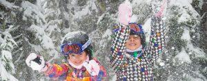Children kids playing in snow