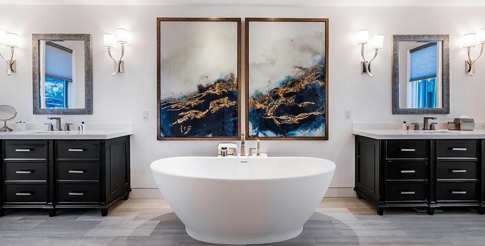Luxury master bathroom with deep soaking tub