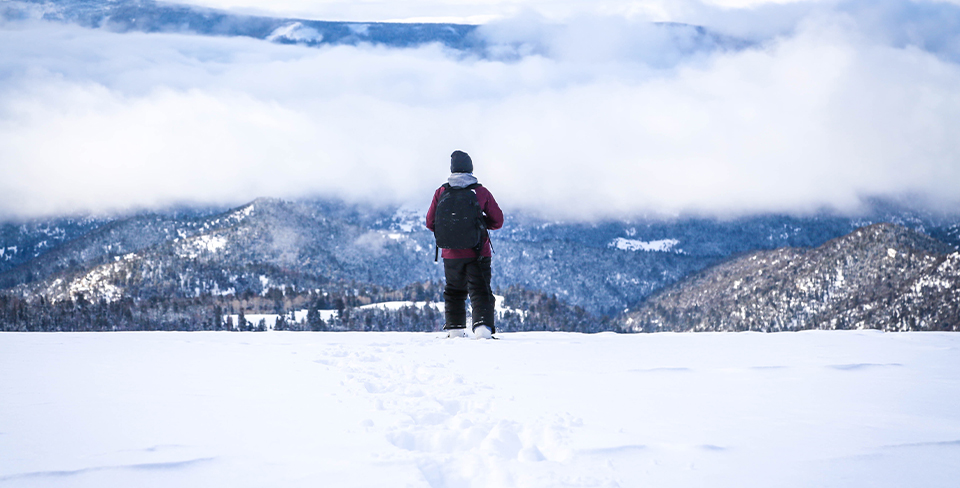 Man standing in the snow looking at the mountains