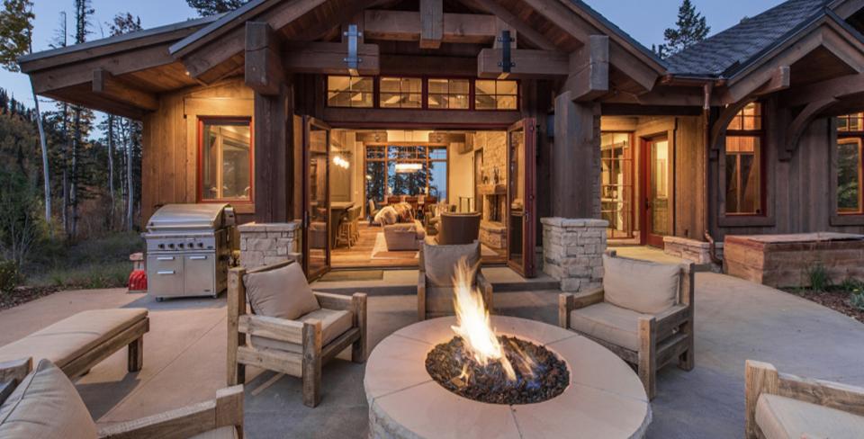 Lit fire pit on patio
