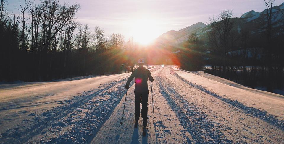 Man cross-country skiing