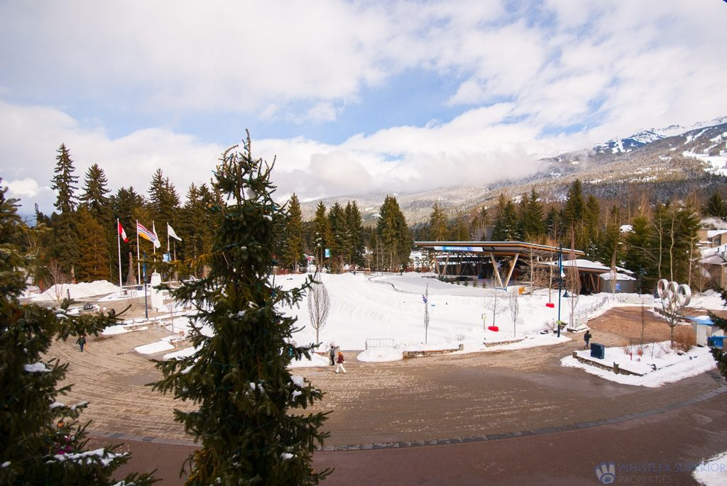 View of Whistler Olympic Plaza from the deck of Tyndall Stone Lodge #311