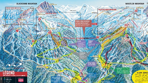 Whistler Blackcomb Ski and Snowboard Trail Map
