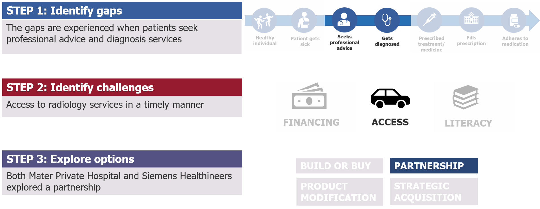 Figure diagraming Lux's three step methodology for developing holistic solutions for healthcare patients