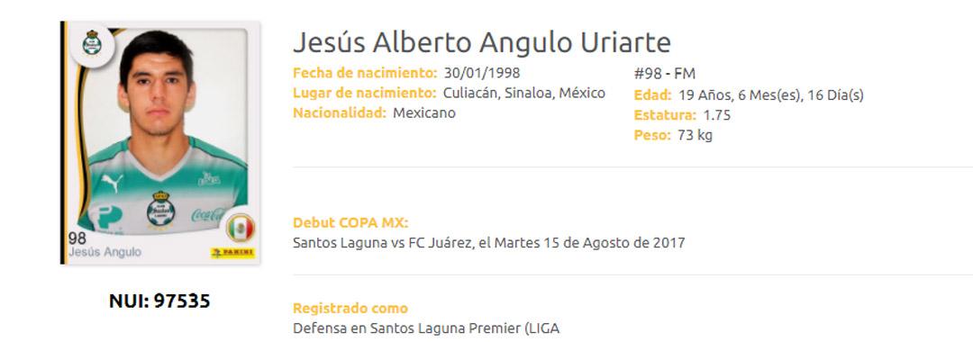 Jesús Angulo Debutó con Santos Laguna