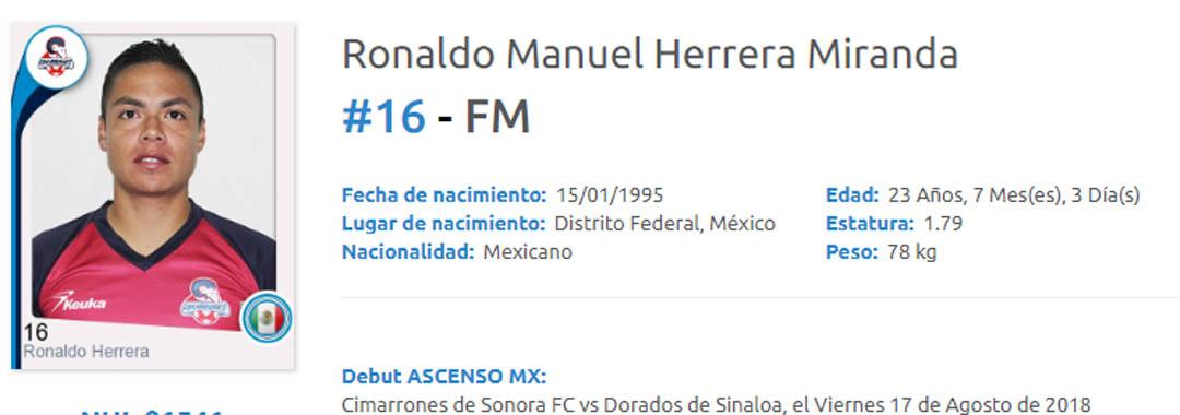 Ronaldo Herrera Debutó Con Cimarrones.