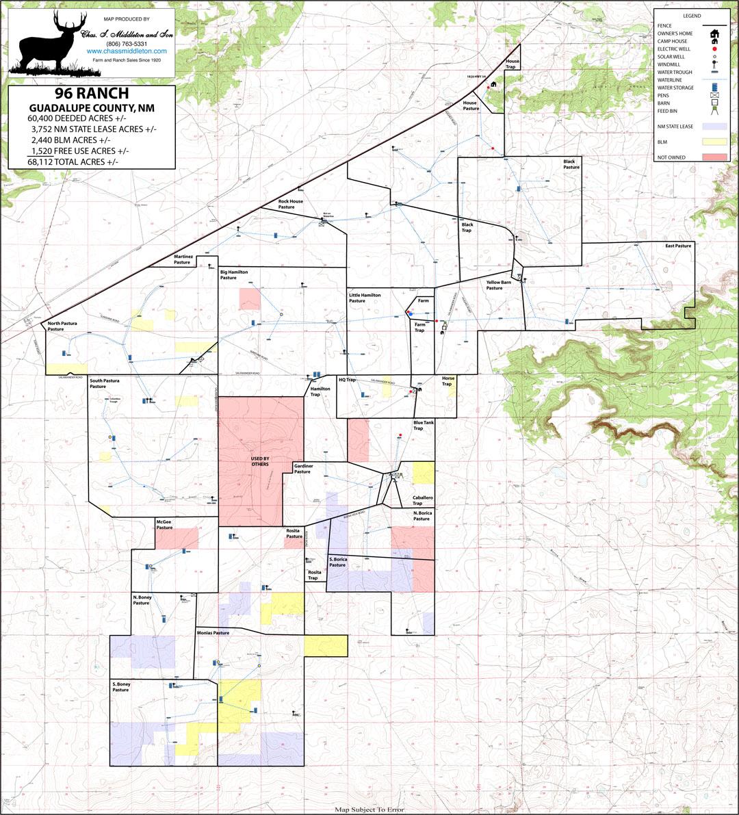 New mexico guadalupe county santa rosa - 96 Ranch Topo Map Jpg