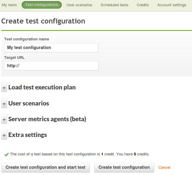 Test configuration page