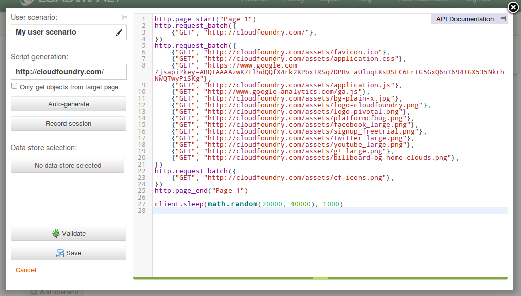 User scenario editor