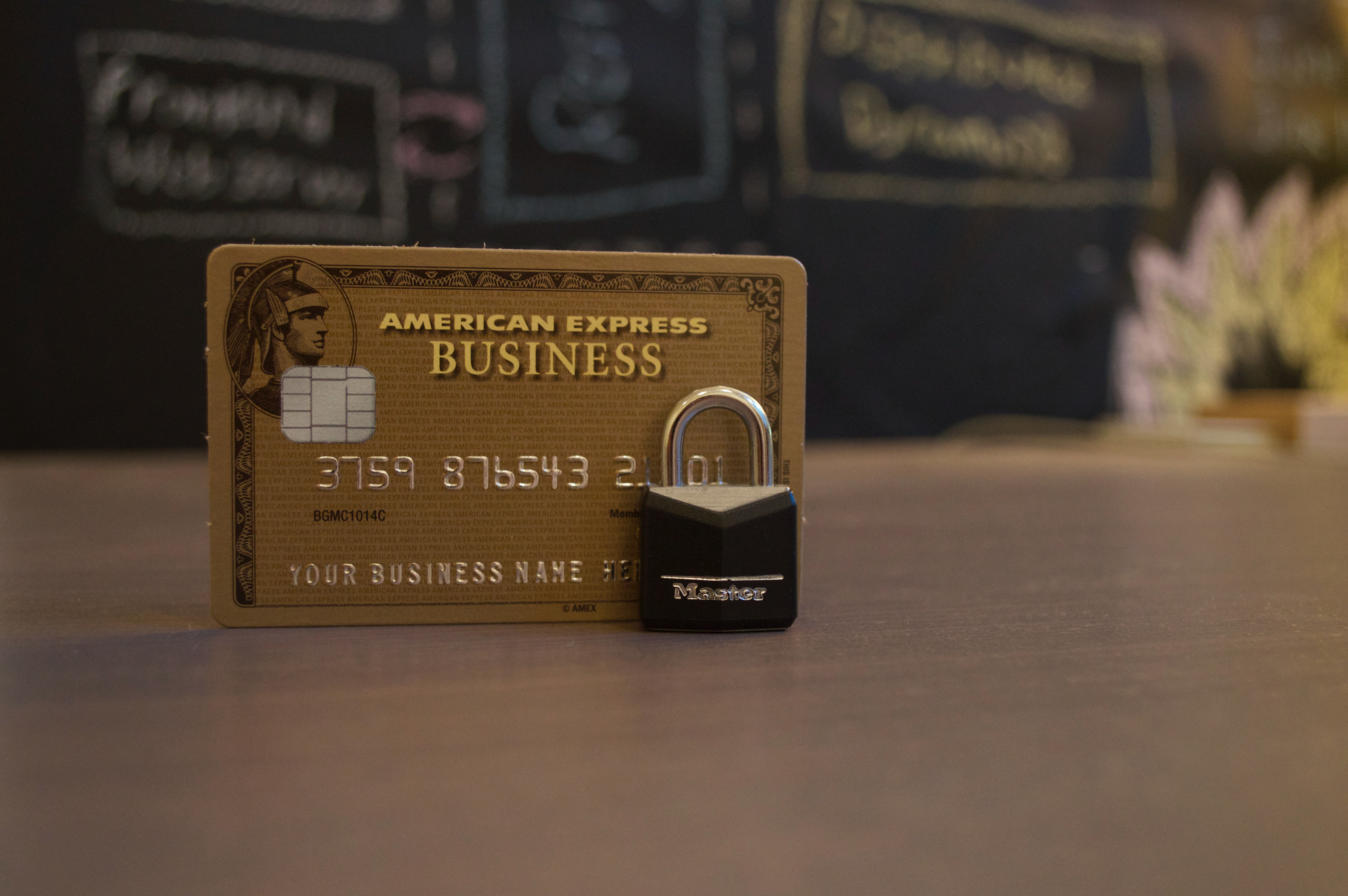 American Express Business credit card with padlock