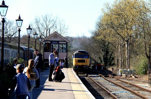 diesel approach. uk, england, london, history, train, canon, eos, spring, track, transport, steam, essex, ongar, 60d. buy photo