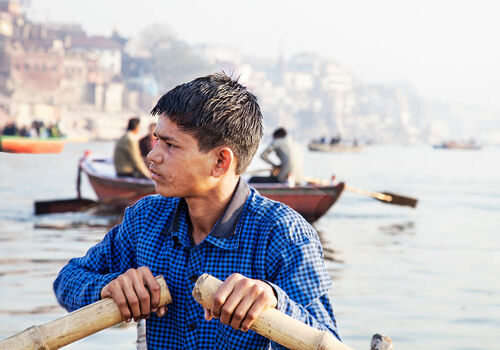 Young Boatman, India.. india, young, boatman, ganges. buy photo