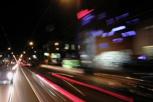 Queen at Abell. toronto, west, cars, night, lights, traffic, motionblur, commute, queenstreet, abell, streetcarwindow, condomarketingcentre, queenwesttriangle. buy photo