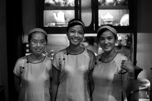 The Reaching Out Tea House staff in Hoi An. leica, girls, bw, house, out, women, reaching, tea, dumb, an, vietnam, staff, deaf, speech, hearing, hoi, m9, impaired. buy photo