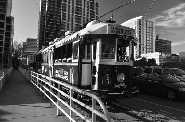 St. Paul Trolley B/W. buy photo
