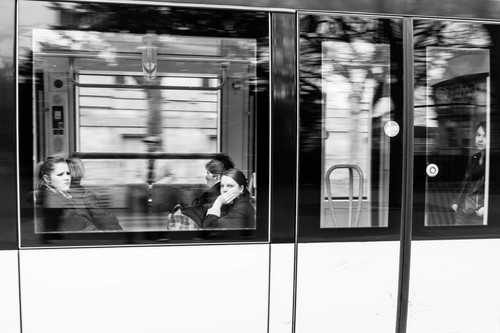 Méditatifs .... street, people, urban, blackandwhite, bw, france, monochrome, noiretblanc, candid, tram, strasbourg, alsace, panning, tramway, mouvement, filé. buy photo