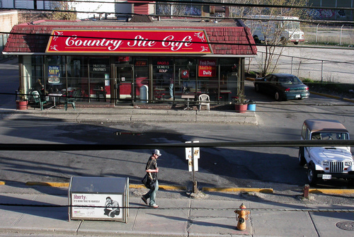 Country Site Cafe April 19. shop, garbage, sidewalk, firehydrant, donut, countrysitecafe. buy photo