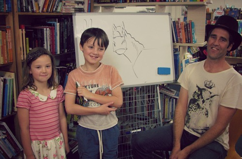 Sadie, Charlie and Donovan Bixley. drawings, cartoons, dinosaurs, authors, illustrators, donovanbixley, dinosaurrescue. buy photo