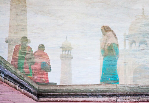 Ladies in reflection. ladies, india, reflection, water, taj, tajmahal, marble, saris. buy photo