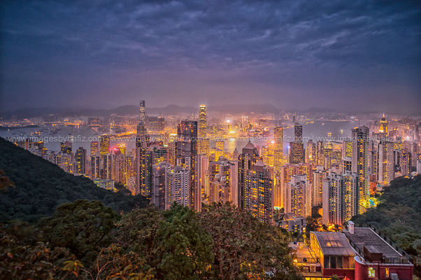 Hong Kong Cityscape. sky, skyline, architecture, clouds, buildings, hongkong, lights, asia, cityscape, view, bluehour, hazy, victoriapeak. buy photo