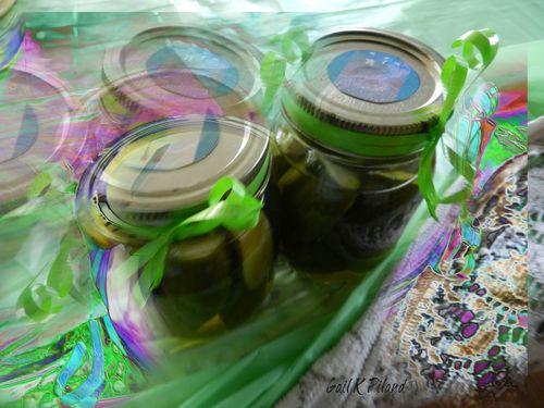a GIFT of pickles. stilllife, green, gift, pickles, photoart, hypothetical, thegalaxy, theperfectphotographer, gailpiland, ringexcellence. buy photo