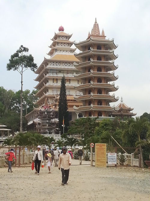 Twin towers. vertical, architecture, design, religion, towers, buddhism, vietnam, pagodas, beliefs, phuocthanh. buy photo