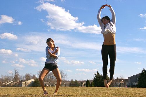 Peace to the Ballerina. blue, sky, sabrina, clouds, sisters, project, jump, jumping, funny, marissa, acrobats, flyers, jumpoholics. buy photo