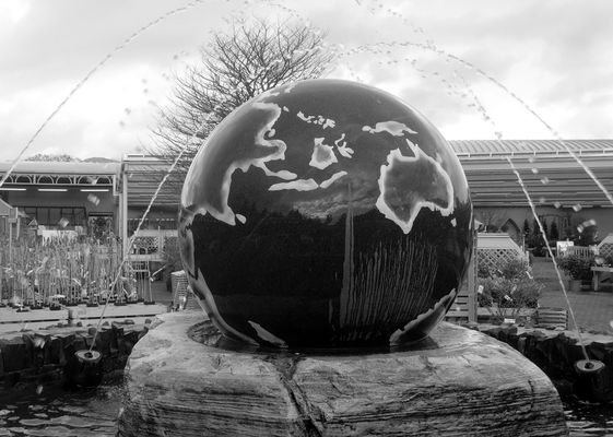 Huge Earth Fountain. uk, england, wet, water, ball, globe, place, earth, north, visit, location, spray, cumbria, splash, cumberland, thelakes, gardencentre, earthfountain, wetball, ©2014tonyworrall. buy photo