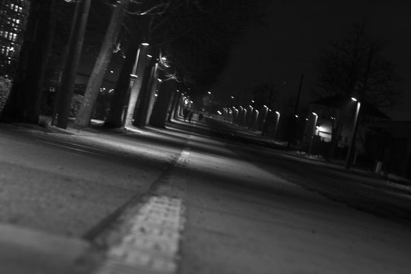 a city street with cars and a traffic light. street, light, shadow, blackandwhite, bw, night, canon, 50mmf18, 550d. buy photo