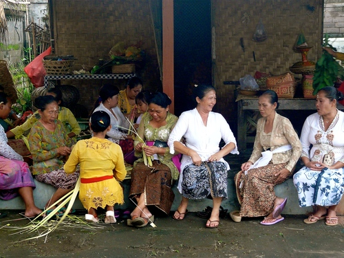Women at work .. wedding, bali, lumix, women, sitting, ceremony, panasonic, kerobokan. buy photo
