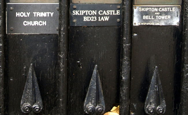 Bell Ringers Post Box. county, uk, england, signs, black, metal, outside, bars, place, post, photos, box, yorkshire, north, visit, tourist, posted, points, letter, written, dales, skipton, letterboxes, yorks, bellringer, lables, ©2014tonyworrall, photosofskipton. buy photo