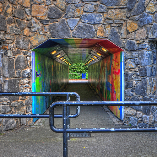 Modern to Medieval. abstract, colour, stone, fence, conway, tunnel, northwales. buy photo