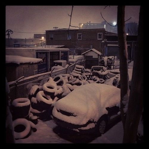#snow #tires #night #march. square, squareformat, sutro, iphoneography. buy photo