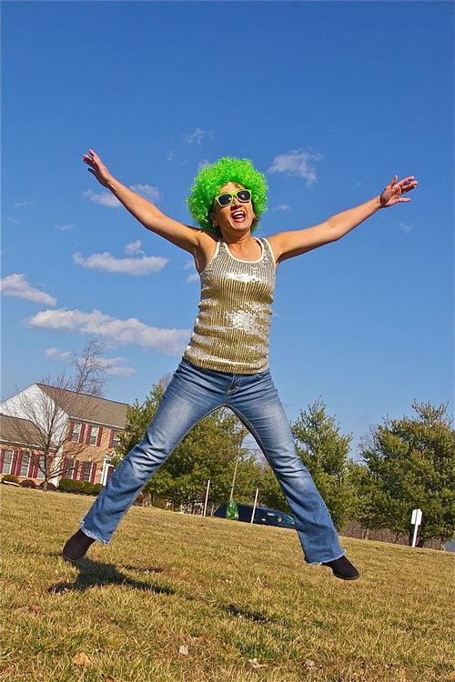Oh No She Didn't!. green, st, project, happy, jump, jumping, day, wig, patricks. buy photo