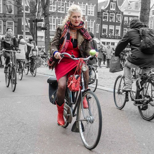lady in red. street, portrait, people, woman, sexy, girl, smile, dutch, amsterdam, fashion, bike, bicycle, portraits, happy, outfit, women, pretty, legs, boots, candid, style, streetlife, skirt, blond, fiets, streetwear, mensen, streetfashion, streetportraits, streetstyle. buy photo