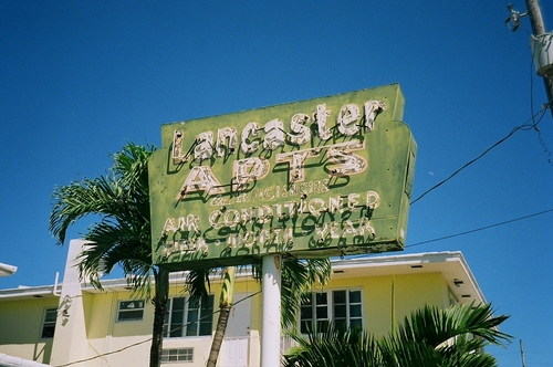 Old Neon Apartment Sign. film, beach, sign, analog, 35mm, us, neon, apartment, florida, zoom, kodak, miami, district, infinity, north, places, olympus, historic, national, shore, 100, register, 70, xl, c41, profoto. buy photo