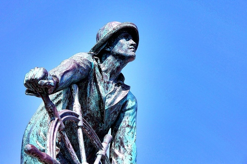 """""""Man at the Wheel"""" fisherman statue in Gloucester, Massachusetts. statue, fisherman, massachusetts, gloucester, fishermanstatue, manatthewheel, fishermanmemorial. buy photo"""