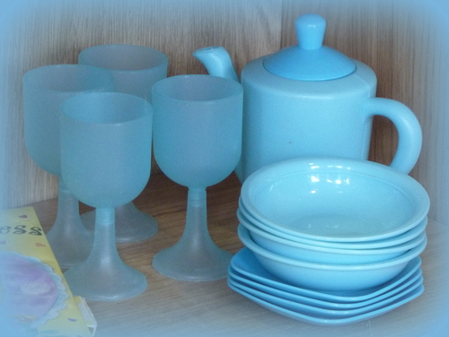 18 Pale Blue. glasses, teapot, plates, dishes, paleblue, 365d. buy photo
